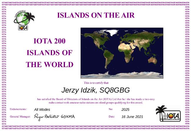 Dyplom za 200 potwierdzonych łączności z wyspami dla stacji SQ8GBG
